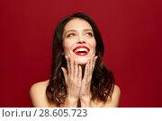 Купить «beautiful smiling young woman with red lipstick», фото № 28605723, снято 5 января 2018 г. (c) Syda Productions / Фотобанк Лори
