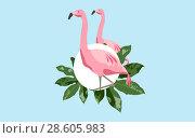 Купить «pink flamingo bird over blue background», фото № 28605983, снято 3 июля 2020 г. (c) Syda Productions / Фотобанк Лори