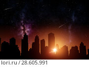 Купить «futuristic city skyscrapers over sunrise in space», фото № 28605991, снято 25 февраля 2016 г. (c) Syda Productions / Фотобанк Лори