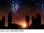 Купить «futuristic city skyscrapers over sunrise in space», фото № 28605995, снято 25 февраля 2016 г. (c) Syda Productions / Фотобанк Лори