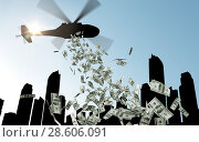 Купить «helicopter in sky dropping money over city», фото № 28606091, снято 7 июля 2020 г. (c) Syda Productions / Фотобанк Лори