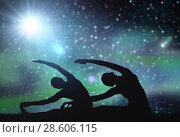 Купить «couple making yoga exercises over space background», фото № 28606115, снято 6 августа 2014 г. (c) Syda Productions / Фотобанк Лори