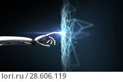 Купить «robot hand connecting to virtual network», фото № 28606119, снято 6 сентября 2016 г. (c) Syda Productions / Фотобанк Лори