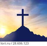 Купить «silhouette of cross on calvary hill over sky», фото № 28606123, снято 31 мая 2020 г. (c) Syda Productions / Фотобанк Лори