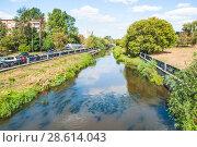 Купить «Река Яуза во время  засухи 2010 года. Москва», фото № 28614043, снято 21 августа 2010 г. (c) Алёшина Оксана / Фотобанк Лори