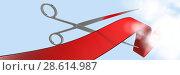 Купить «Composite image of scissors cutting red lace», фото № 28614987, снято 21 июня 2018 г. (c) Wavebreak Media / Фотобанк Лори
