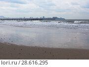 Купить «Набегающая волна на пустынный, зимний пляж в курортном посёлке Джемите, Анапа», фото № 28616295, снято 2 марта 2018 г. (c) Николай Мухорин / Фотобанк Лори