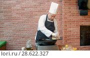 Купить «Chef putting fried dumplings with seafood on plate», видеоролик № 28622327, снято 14 апреля 2017 г. (c) Vasily Alexandrovich Gronskiy / Фотобанк Лори