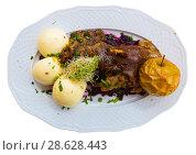 Купить «Duck with yeast dumplings and blue cabbage. Isolated», фото № 28628443, снято 11 мая 2018 г. (c) Яков Филимонов / Фотобанк Лори