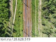 Купить «A railway track passing through the forest and field.», фото № 28628519, снято 15 июня 2018 г. (c) Андрей Радченко / Фотобанк Лори