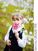 Купить «Ребенок-школьник в цветущих садах с леденцом», эксклюзивное фото № 28629155, снято 8 мая 2018 г. (c) Инна Козырина (Трепоухова) / Фотобанк Лори