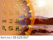 Купить «Twelve symbols of the zodiac. Space horoscope», иллюстрация № 28629667 (c) ElenArt / Фотобанк Лори