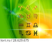 Купить «Twelve symbols of the zodiac. Space horoscope», иллюстрация № 28629675 (c) ElenArt / Фотобанк Лори