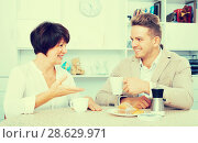 Купить «Man and woman with coffee», фото № 28629971, снято 17 октября 2018 г. (c) Яков Филимонов / Фотобанк Лори