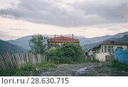 Купить «Old Village wooden houses in nature Georgia mountains», фото № 28630715, снято 15 июня 2018 г. (c) Aleksejs Bergmanis / Фотобанк Лори