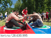Купить «KAZAN, RUSSIA - JUNE 23, 2018: Traditional Tatar festival Sabantuy - Strong muscular men in battle of pulling the stick outdoors», фото № 28630995, снято 23 июня 2018 г. (c) Константин Шишкин / Фотобанк Лори