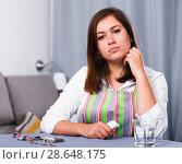 Купить «Woman feeling sad», фото № 28648175, снято 22 марта 2017 г. (c) Яков Филимонов / Фотобанк Лори