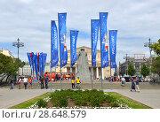 Купить «Flags of 2018 FIFA World Cup on Theater Square. Москва», фото № 28648579, снято 21 июня 2018 г. (c) Валерия Попова / Фотобанк Лори