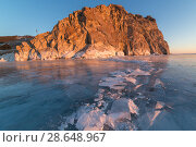 Купить «Lake Baikal in winter day. Cracks on the smooth surface of the ice near the cliffs of Olkhon Island», фото № 28648967, снято 16 июля 2018 г. (c) Владимир Пойлов / Фотобанк Лори