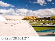 Купить «National Congress, Distrito Federal, Brasília, Brazil», фото № 28651211, снято 13 июля 2005 г. (c) age Fotostock / Фотобанк Лори