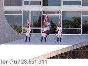 Купить «Guard Presidential, Horsemen of the Independence in the Palace of the Plateau, Distrito Federal, Brasília, Brazil», фото № 28651311, снято 14 июля 2005 г. (c) age Fotostock / Фотобанк Лори