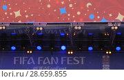 Купить «Concert lighting on stage», видеоролик № 28659855, снято 25 июня 2018 г. (c) Aleksey Popov / Фотобанк Лори