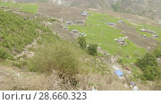 Купить «High-mountainous village Prok in Nepal. Manaslu circuit trek area.», видеоролик № 28660323, снято 17 июня 2018 г. (c) Dzmitry Astapkovich / Фотобанк Лори