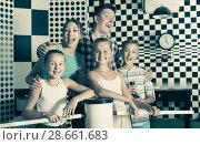 Купить «Portrait of family who is satisfied of visit of entertainment», фото № 28661683, снято 3 августа 2017 г. (c) Яков Филимонов / Фотобанк Лори