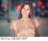 Купить «close-up portrait of smiling slim adult girl in sexy evening apparel», фото № 28661807, снято 26 августа 2017 г. (c) Яков Филимонов / Фотобанк Лори