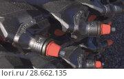 Купить «Powerful drilling tool. Screw drill, equipped with carbide-tipped elements and teeth.», видеоролик № 28662135, снято 6 июня 2018 г. (c) Андрей Радченко / Фотобанк Лори