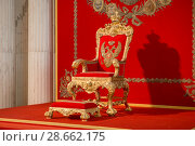 Купить «Георгиевский (Большой тронный) зал Зимнего дворца. Большой императорский трон. Государственного Эрмитажа. Санкт-Петербург, Россия», фото № 28662175, снято 18 августа 2017 г. (c) Pukhov K / Фотобанк Лори