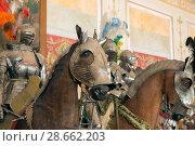 Купить «Манекены древних рыцарей в доспехах на лошадях в Государственном  Эрмитаже. Санкт-Петербург», фото № 28662203, снято 18 августа 2017 г. (c) Pukhov K / Фотобанк Лори