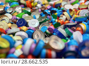 Купить «Placer of multi-colored aluminum caps for bottles.», фото № 28662535, снято 22 июня 2017 г. (c) Андрей Радченко / Фотобанк Лори