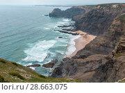 Купить «Summer Atlantic rocky coast (Algarve, Portugal).», фото № 28663075, снято 21 мая 2016 г. (c) Юрий Брыкайло / Фотобанк Лори
