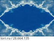 Купить «Clouds frame in sky», фото № 28664135, снято 23 сентября 2018 г. (c) Ольга Сапегина / Фотобанк Лори