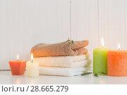 Купить «Beautiful composition of spa treatment on white background», фото № 28665279, снято 14 ноября 2017 г. (c) Майя Крученкова / Фотобанк Лори