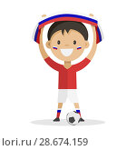 Купить «Football player with a ball on a white background raises a scarf with the flag of Russia over his head. Vector illustration.», иллюстрация № 28674159 (c) Анастасия Улитко / Фотобанк Лори