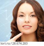 Купить «beautiful woman with low poly shape projection», фото № 28674283, снято 30 октября 2011 г. (c) Syda Productions / Фотобанк Лори