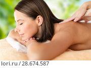 Купить «close up of beautiful woman having massage at spa», фото № 28674587, снято 25 июля 2013 г. (c) Syda Productions / Фотобанк Лори