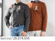 Купить «close up of couple with gay pride rainbow ribbons», фото № 28674695, снято 2 ноября 2017 г. (c) Syda Productions / Фотобанк Лори