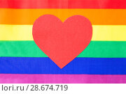 Купить «red heart over rainbow background», фото № 28674719, снято 14 ноября 2017 г. (c) Syda Productions / Фотобанк Лори