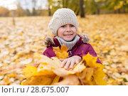 Купить «happy girl with fallen maple leaves at autumn park», фото № 28675007, снято 19 октября 2017 г. (c) Syda Productions / Фотобанк Лори