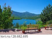Купить «Изобильненское водохранилище, Крым», фото № 28682695, снято 14 июня 2018 г. (c) Natalya Sidorova / Фотобанк Лори
