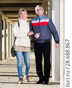 Купить «Mature couple walking outdoors», фото № 28688867, снято 16 августа 2018 г. (c) Яков Филимонов / Фотобанк Лори