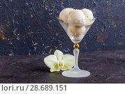 Vanilla sundae in a wide glass. Стоковое фото, фотограф Марина Сапрунова / Фотобанк Лори