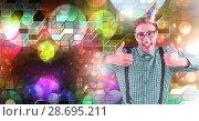 Купить «Fun party man with geometric party lights venue atmosphere», фото № 28695211, снято 16 июля 2020 г. (c) Wavebreak Media / Фотобанк Лори