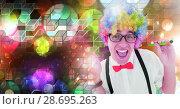 Купить «Fun party man with geometric party lights venue atmosphere», фото № 28695263, снято 16 июля 2020 г. (c) Wavebreak Media / Фотобанк Лори