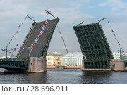 Купить «Разведенный Дворцовый мост. Санкт-Петербург», эксклюзивное фото № 28696911, снято 28 июля 2017 г. (c) Александр Щепин / Фотобанк Лори