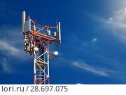 Купить «Base station network operator. 5G. 4G, 3G mobile technologies.», фото № 28697075, снято 4 июля 2018 г. (c) Александр Якимов / Фотобанк Лори