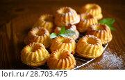 Sweet muffin curd in sugar powder. Стоковое видео, видеограф Peredniankina / Фотобанк Лори